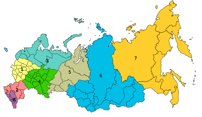 8 Districts fédéraux 800pxmapofrussiandistricts20100119svg